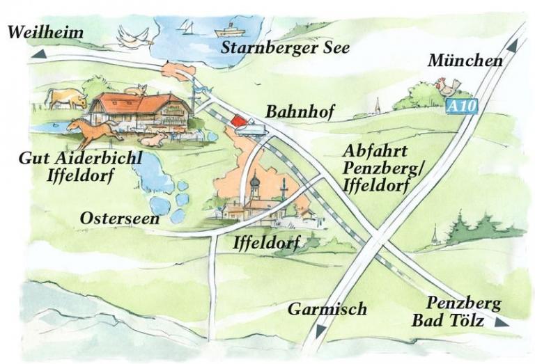 Anfahrt Gut Aiderbichl Iffeldorf