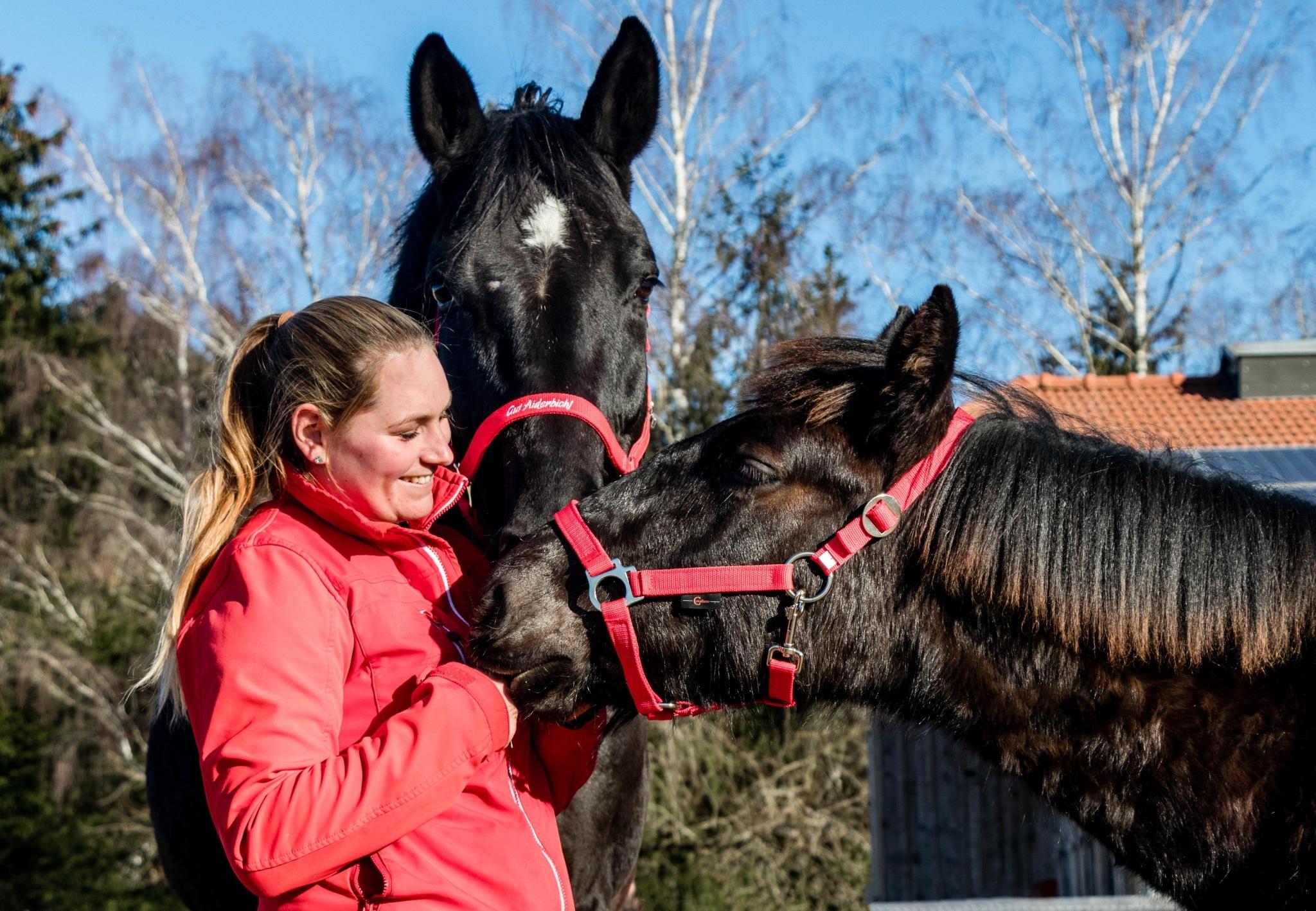 Eva mit den Pferden Fidelio und Nonius
