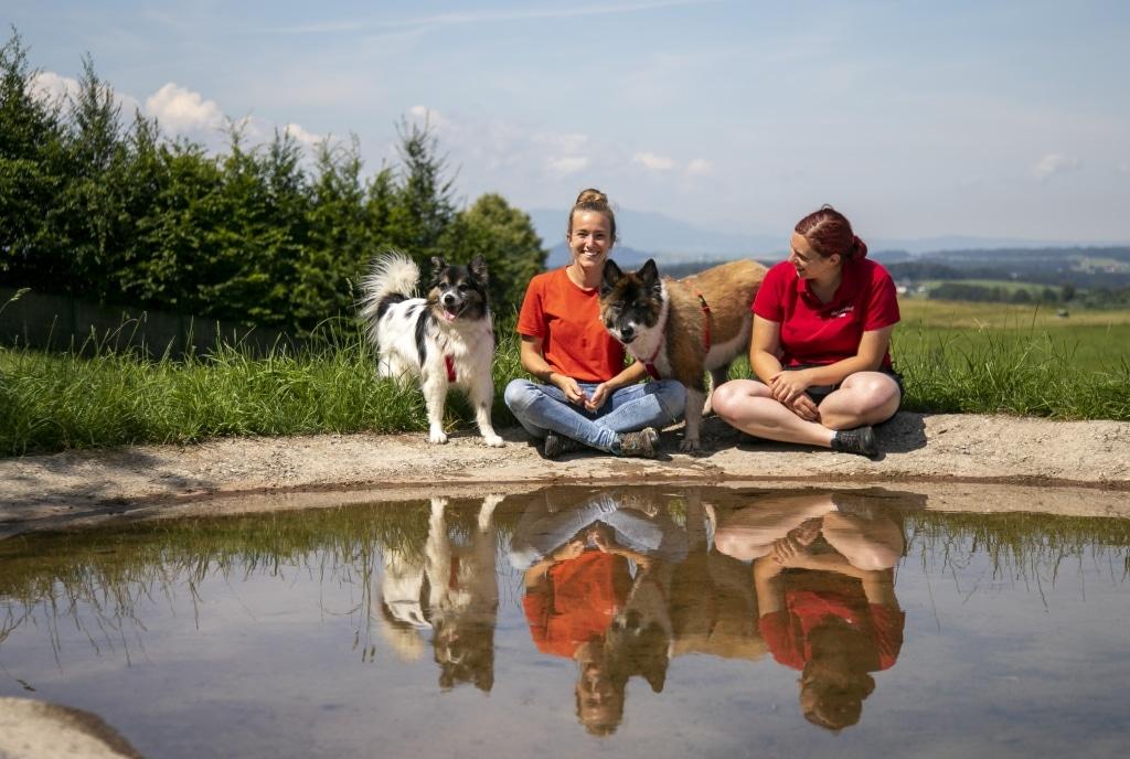 Hund Benny und Resi mit Melina und Steffi